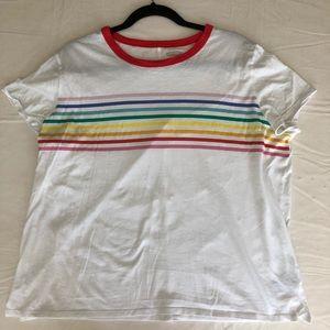 White, rainbow striped T-Shirt